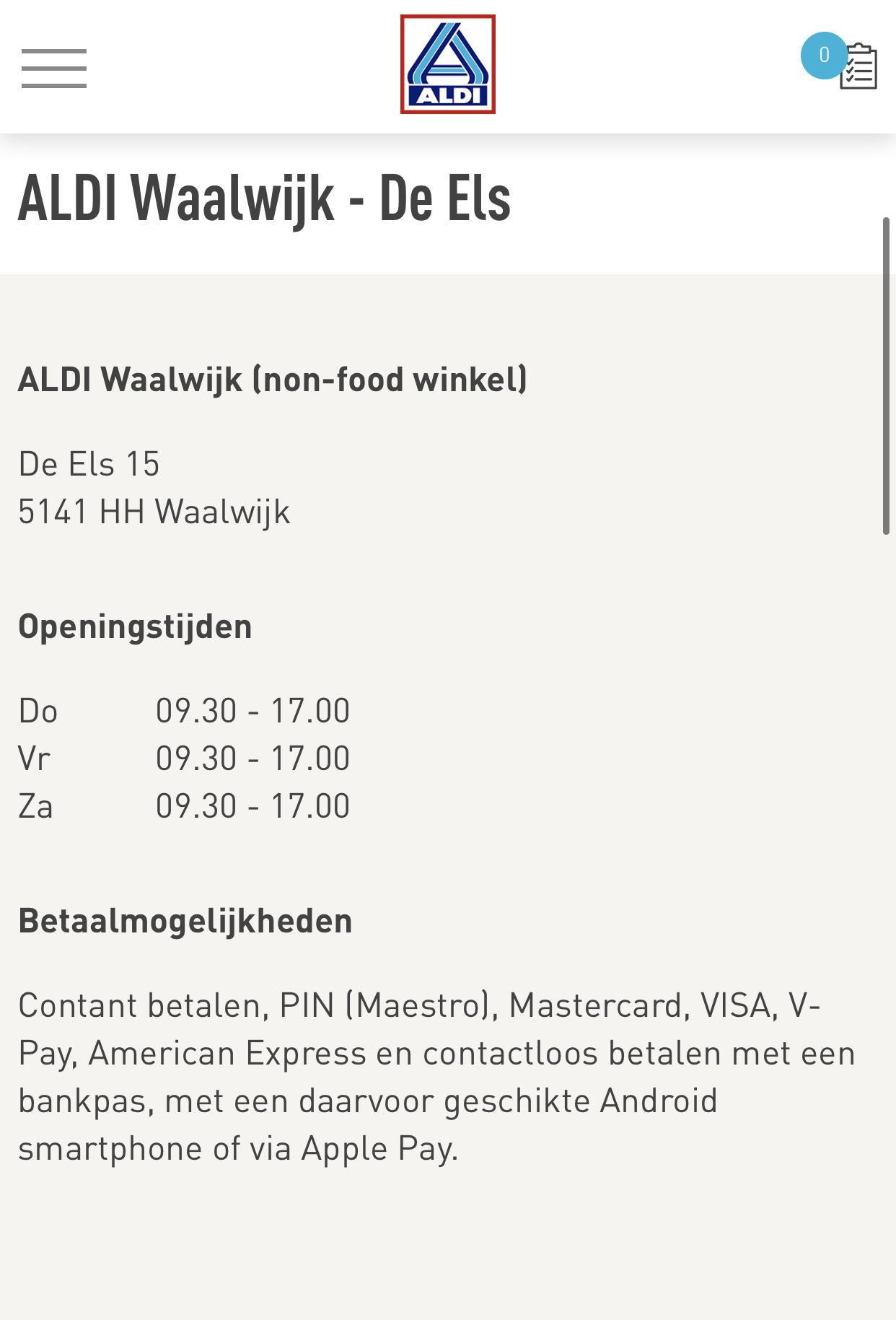 Aldi outlet (non-food) te Waalwijk kortingen tot 80% + extra 30%