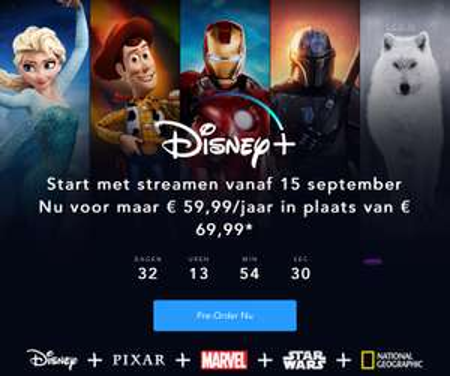 België Disney plus voor 1 jaar voorbestellen