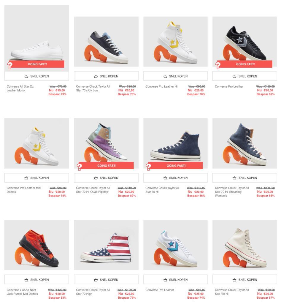 Diverse Converse sneakers voor €20