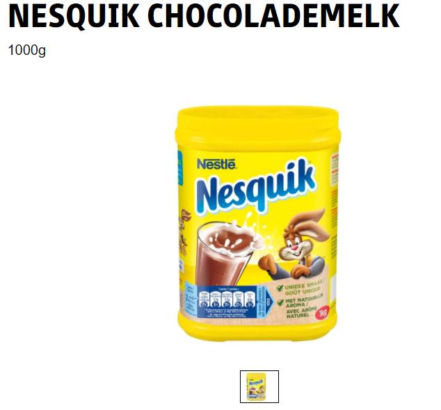 Nesquik chocolademelk poeder, 1kg voor 3,99, kruidvat