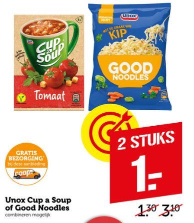 2 pakjes Unox Cup a Soup of Good Noodles voor €1 @ Coop