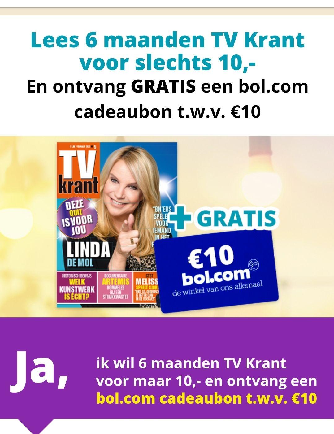 Half jaar tv krant + 10 euro BOL.COM kaart. (Via cashbackkorting.nl 2,50 cashcoins)