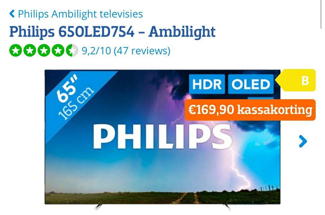 "Philips 65"" OLED Ambilight (Philips 65OLED754) @ Coolblue"