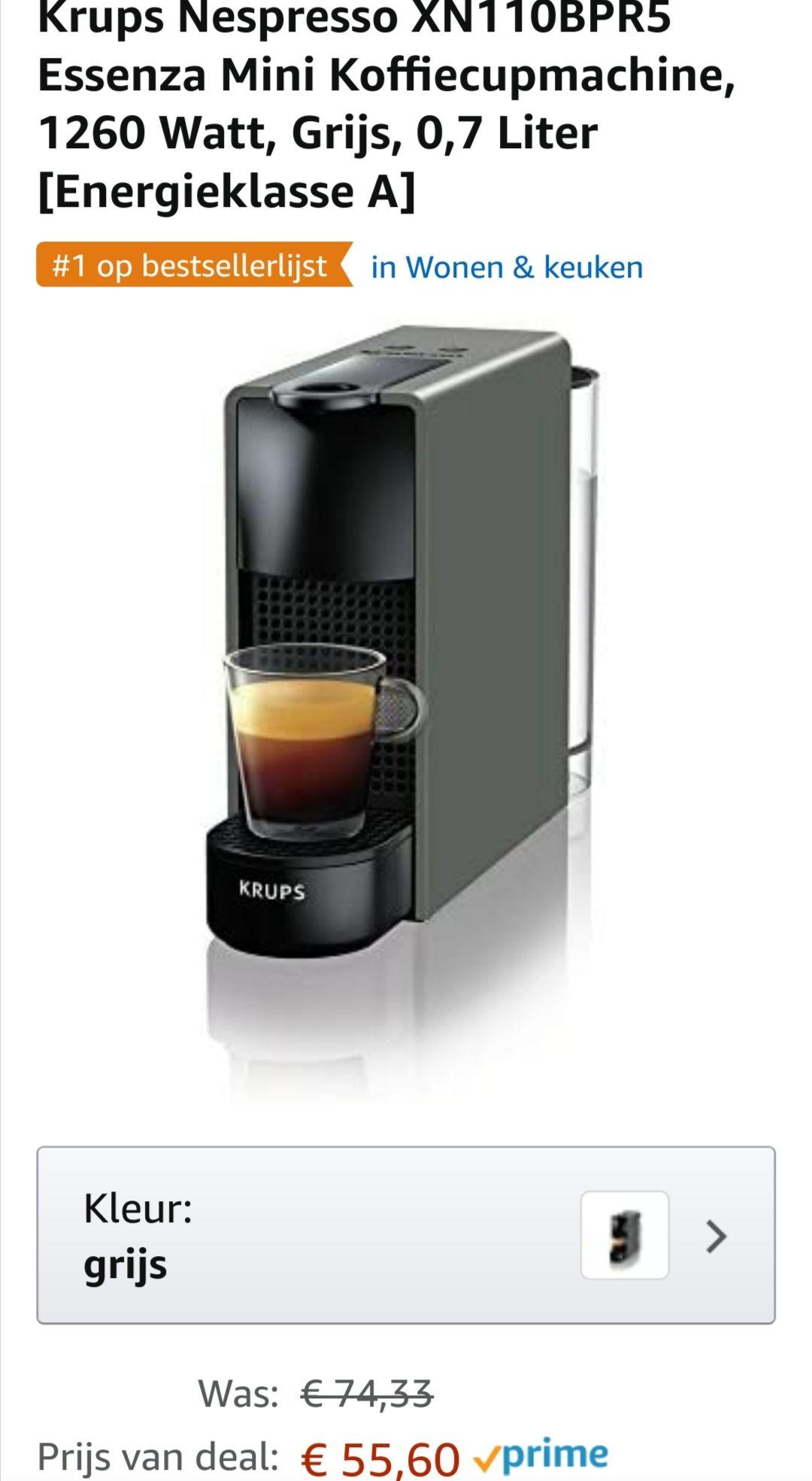 Nespresso XN110BPR5 essenza mini koffiecupmachine en 100 cups met flinke korting.