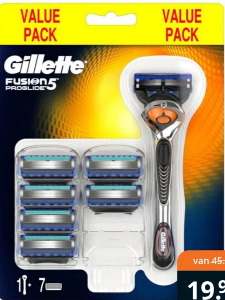 Gillette Fusion ProGlide Handle en 7 Scheermesjes (€2.28 per mes) (icm 20% koopavond korting)
