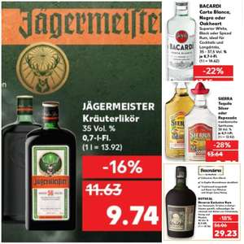 [Grensdeal] Jägermeister, Bacardi, Sierra & Diplomatico Reserva Exclusiva bij Kaufland