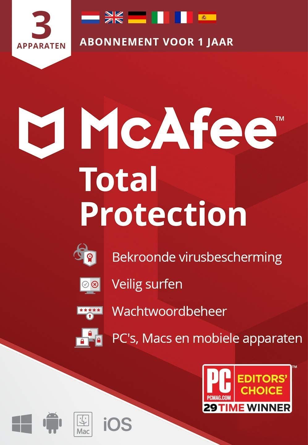 McAfee Total Protection 2020 (3 apparaten  1 jaar )