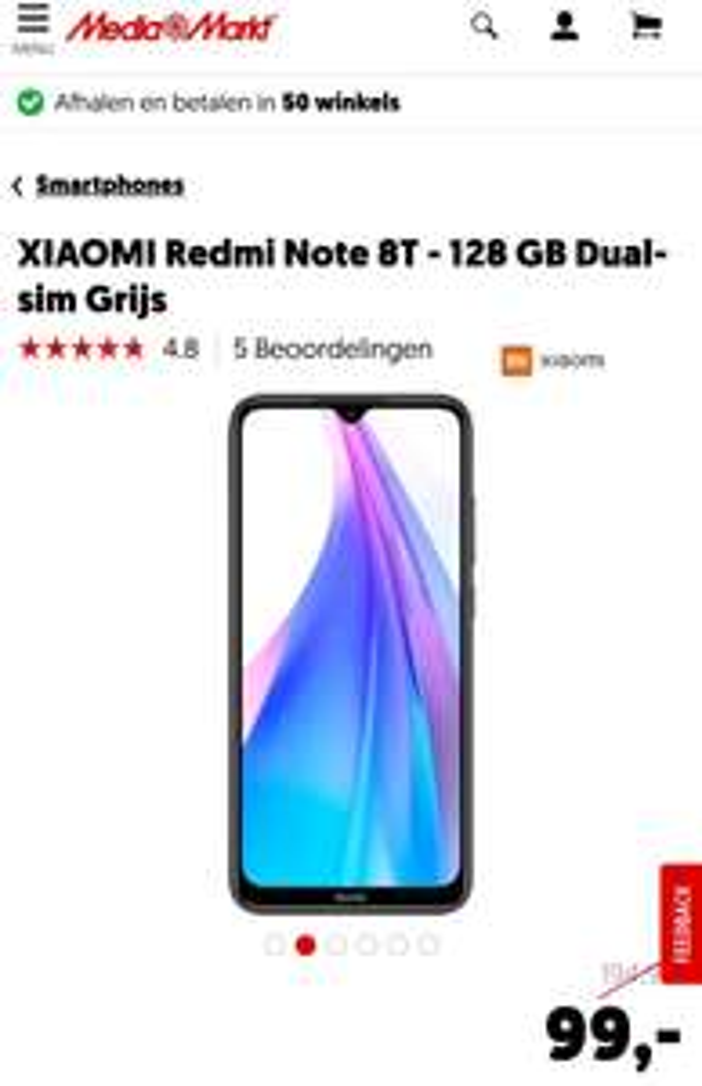 XIAOMI Redmi Note 8T - 128 GB/ 4gb Dual-sim