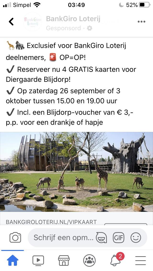 Gratis naar Blijdorp met je BankGiroLoterij VIP-kaart