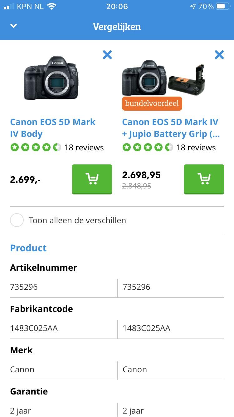 CANON EOS 5D MARK IV BODY + Jupio battery grip