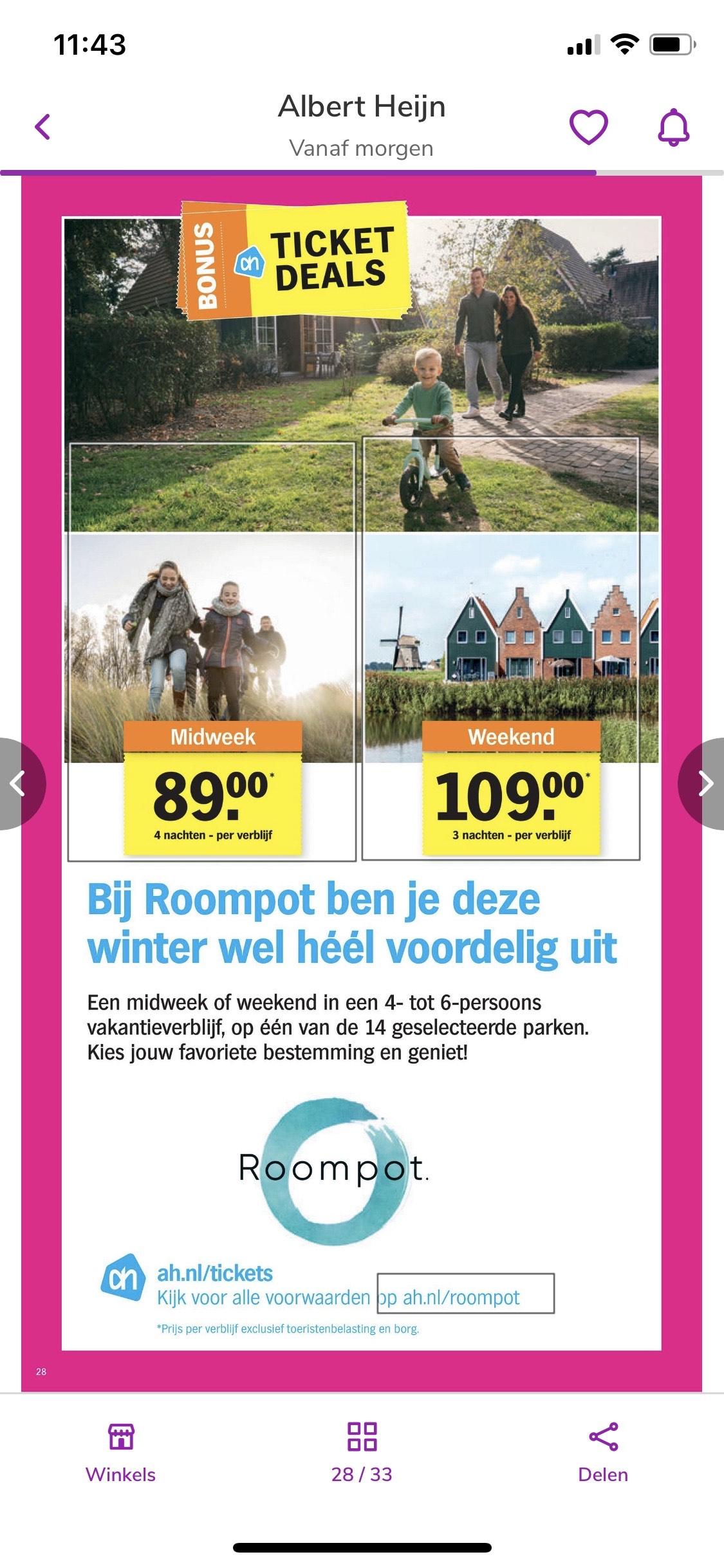 Roompot midweek voor €89,- of weekend voor €109,- @AH