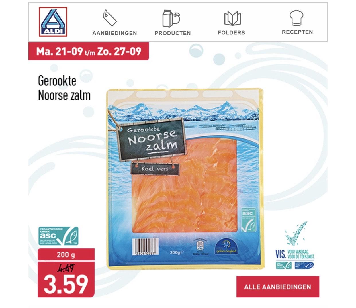 Gerookte zalm 200 gram €3,59 Aldi