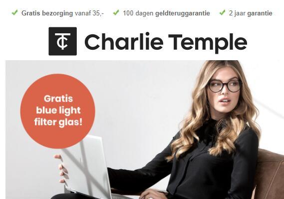 Gratis blue light filter twv €20 bij aankoop bril bij Charlie Temple.
