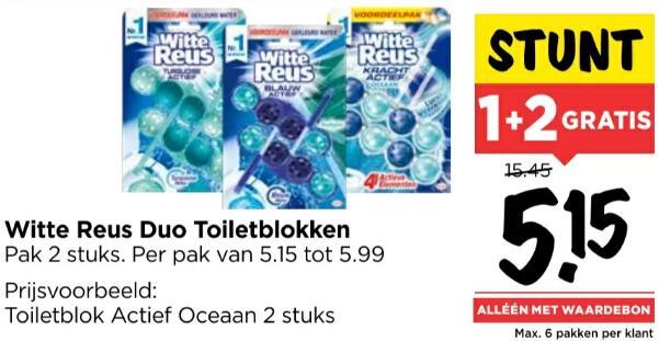 Witte Reus duo toiletblokken 1+2 GRATIS @ Vomar