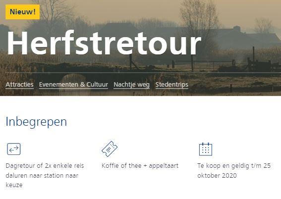 NS Herfst Dagretour voor € 25 of 2 enkeltjes € 29 + Voucher voor Koffie & Appeltaart