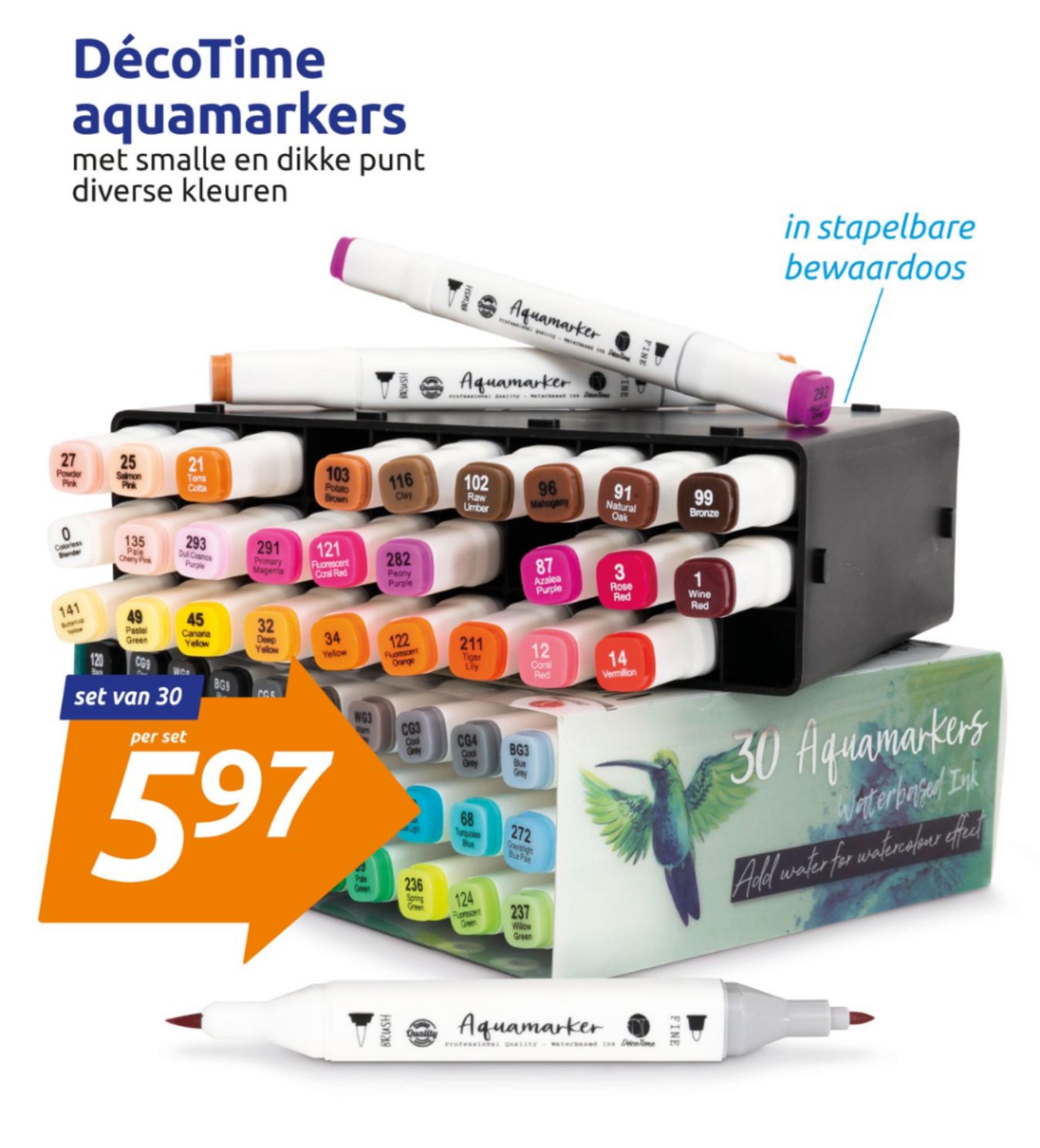 Aquamarkers in de weekactie bij Action, 30 stuks voor maar 5,97