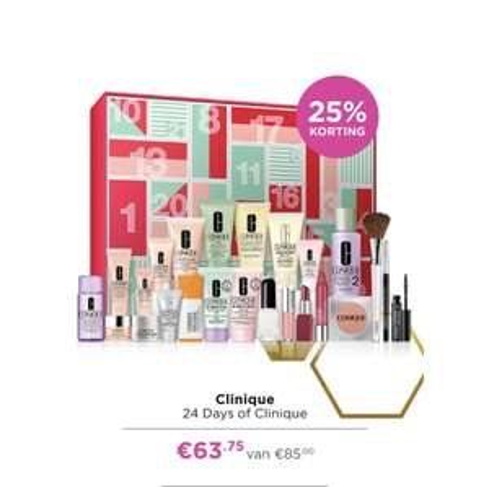Clinique adventskalender (-25%) €63,75 bij ICI Paris XL