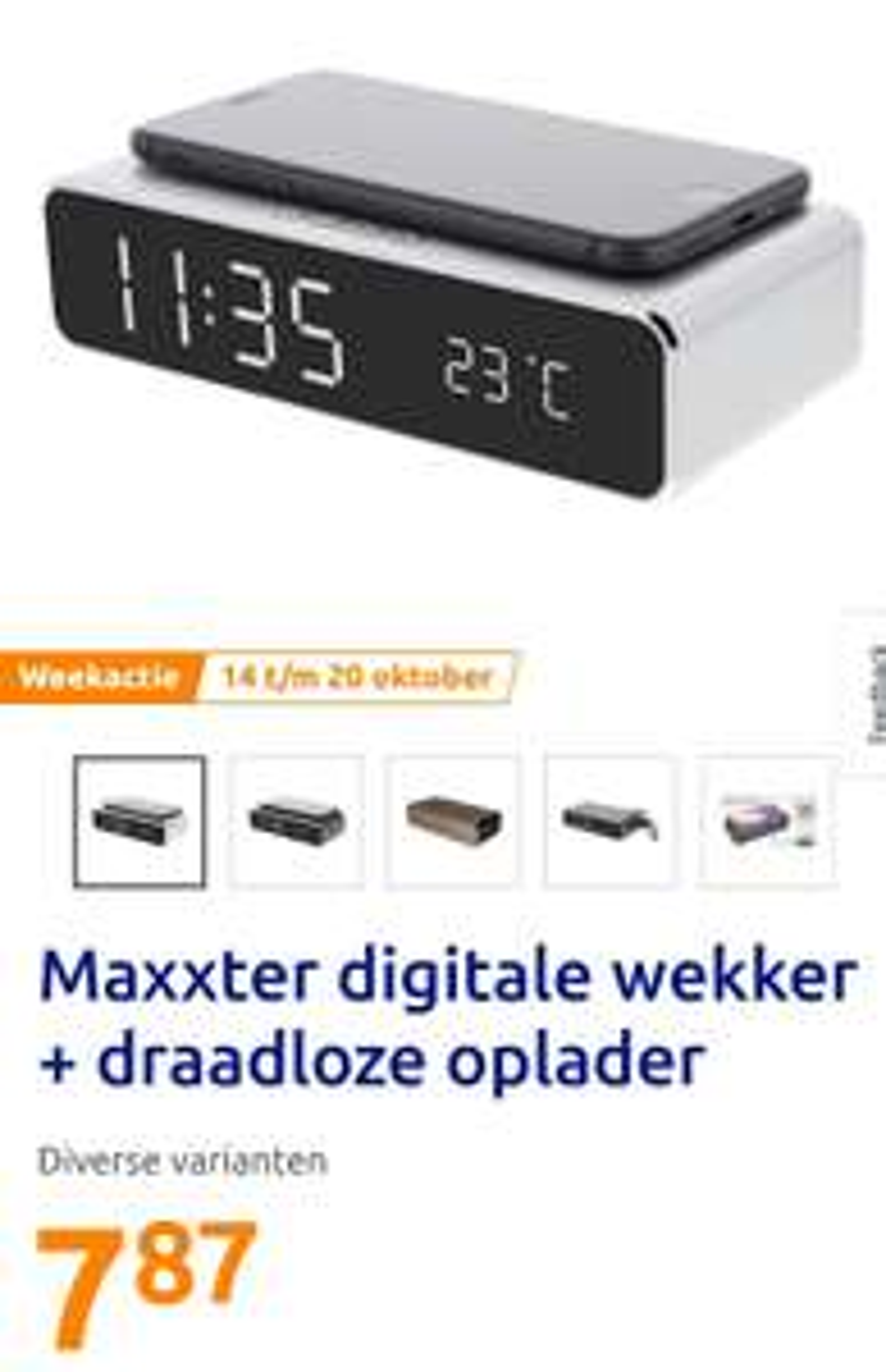 Digitale wekker + draadloze oplader € 7,87 @ Action