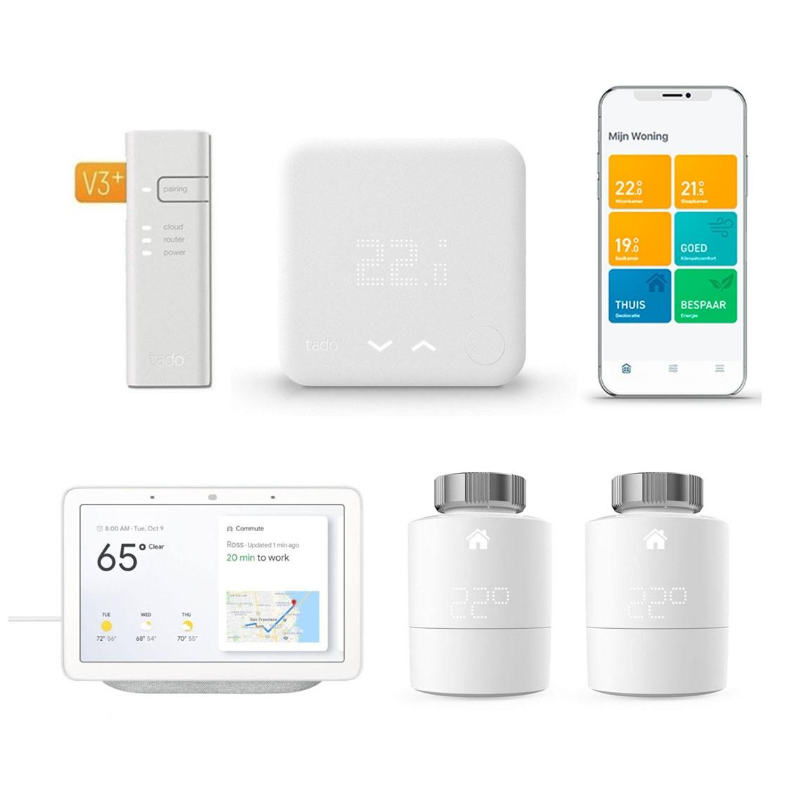 [Nu €239,95 of €199 zonder hub] Tado v3+ slimme thermostaat starterset inc. bridge + 2 radiatorknoppen + Google Nest Hub @ tink