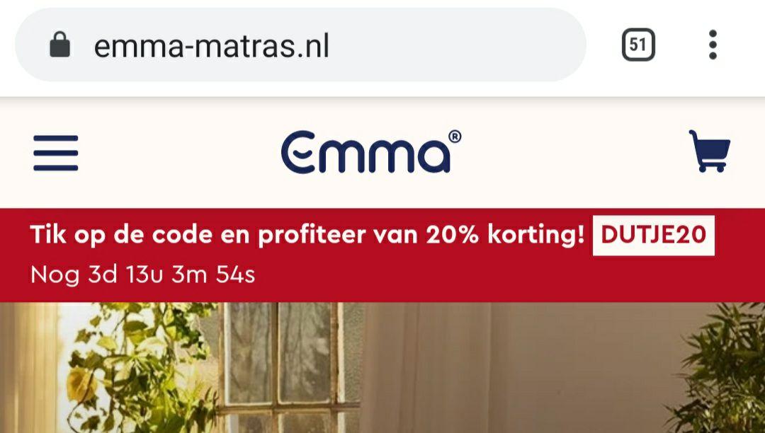 20% korting op alles(?) van Emma