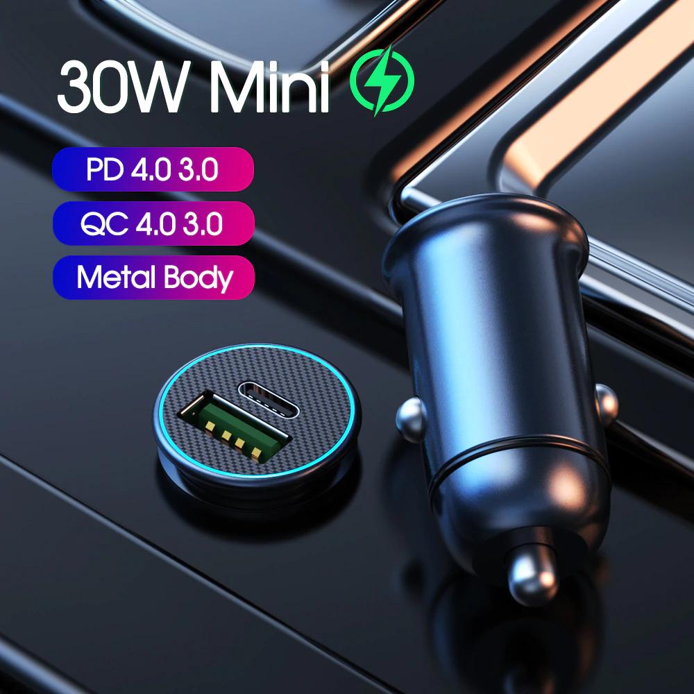 30w autolader met USB-C én A. Ondersteuning voor alle quick charge protocollen.