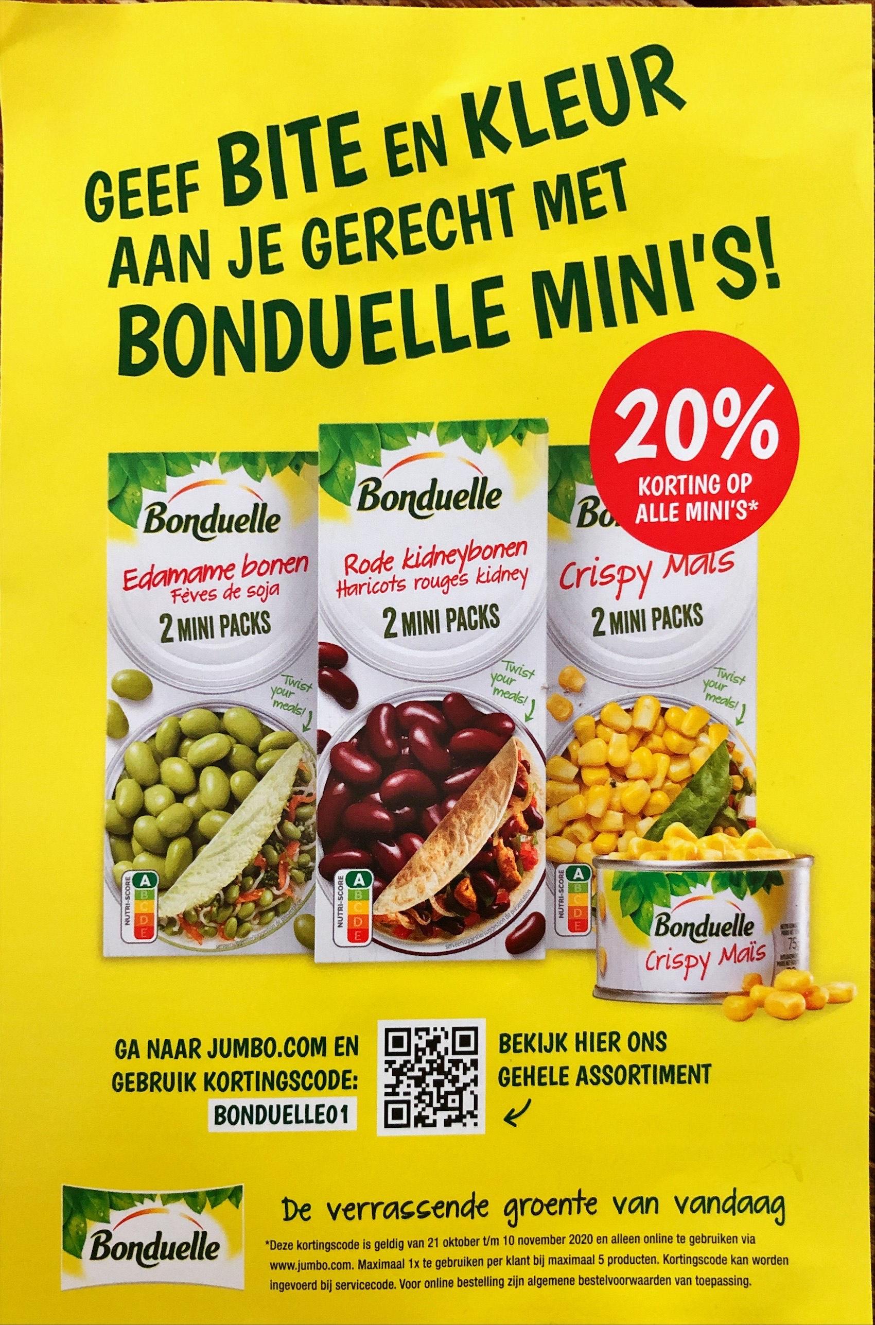 20% korting op alle Bonduelle mini's bij Jumbo online