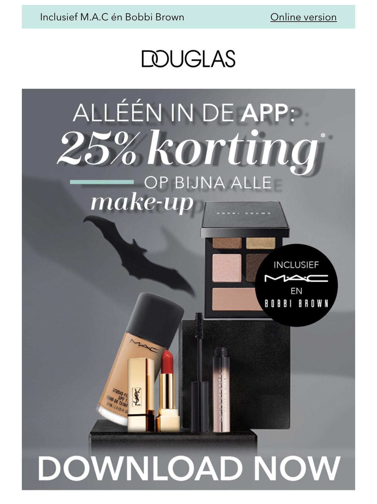 Alleen in de Douglas app: 25% korting op alle make-up (inclusief MAC & Bobbi Brown)