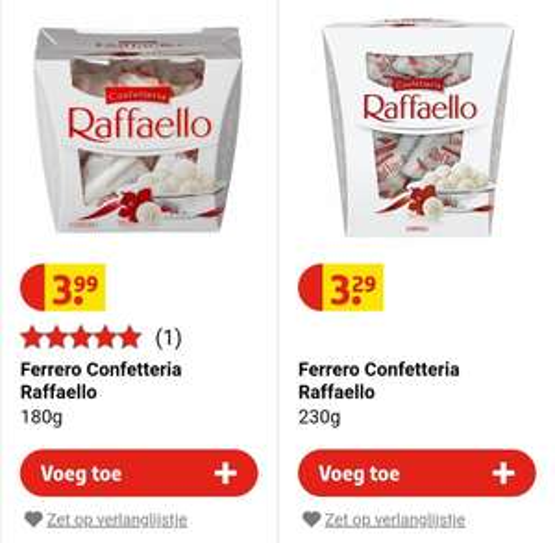 230gr Raffaello goedkoper dan 180gr bij Kruidvat