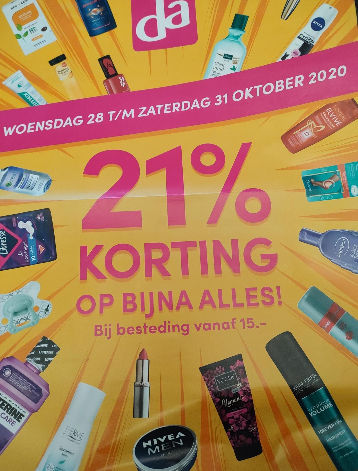 21% korting op bijna alles bij besteding vanaf €15 @ DA