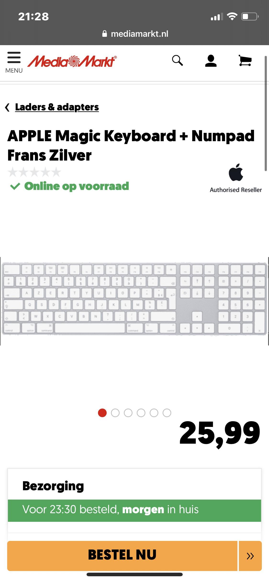 Apple magic keyboard+numpad frans AZERTY (prijsfout??)