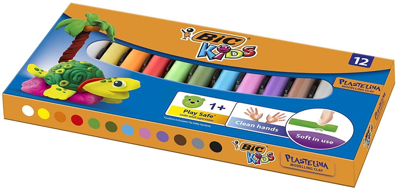 BIC Kids Modeling Klei - Verschillende kleuren - Pack van 12 - Herbruikbare ambachtelijke klei plasticine voor kinderen leeftijd 1+ -