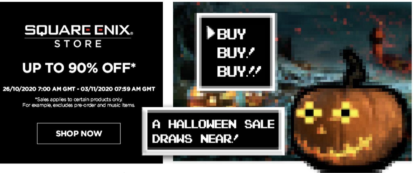 Halloween sale bij de Square Enix Store