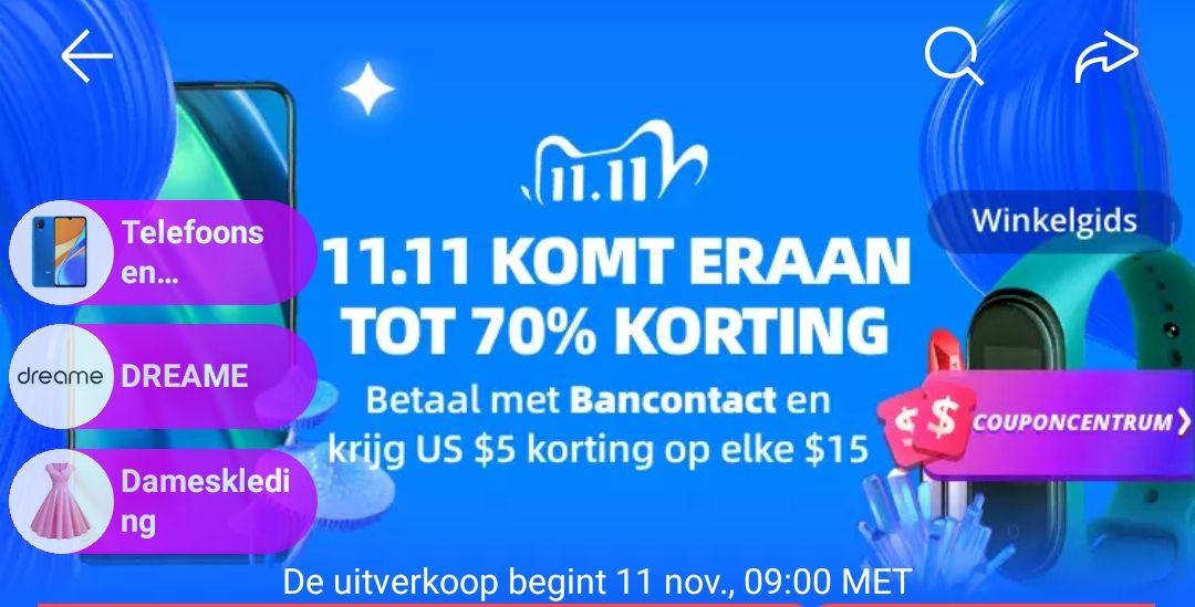 AliExpress 11.11 betaal met Bancontact en krijg $5 korting op elke $15