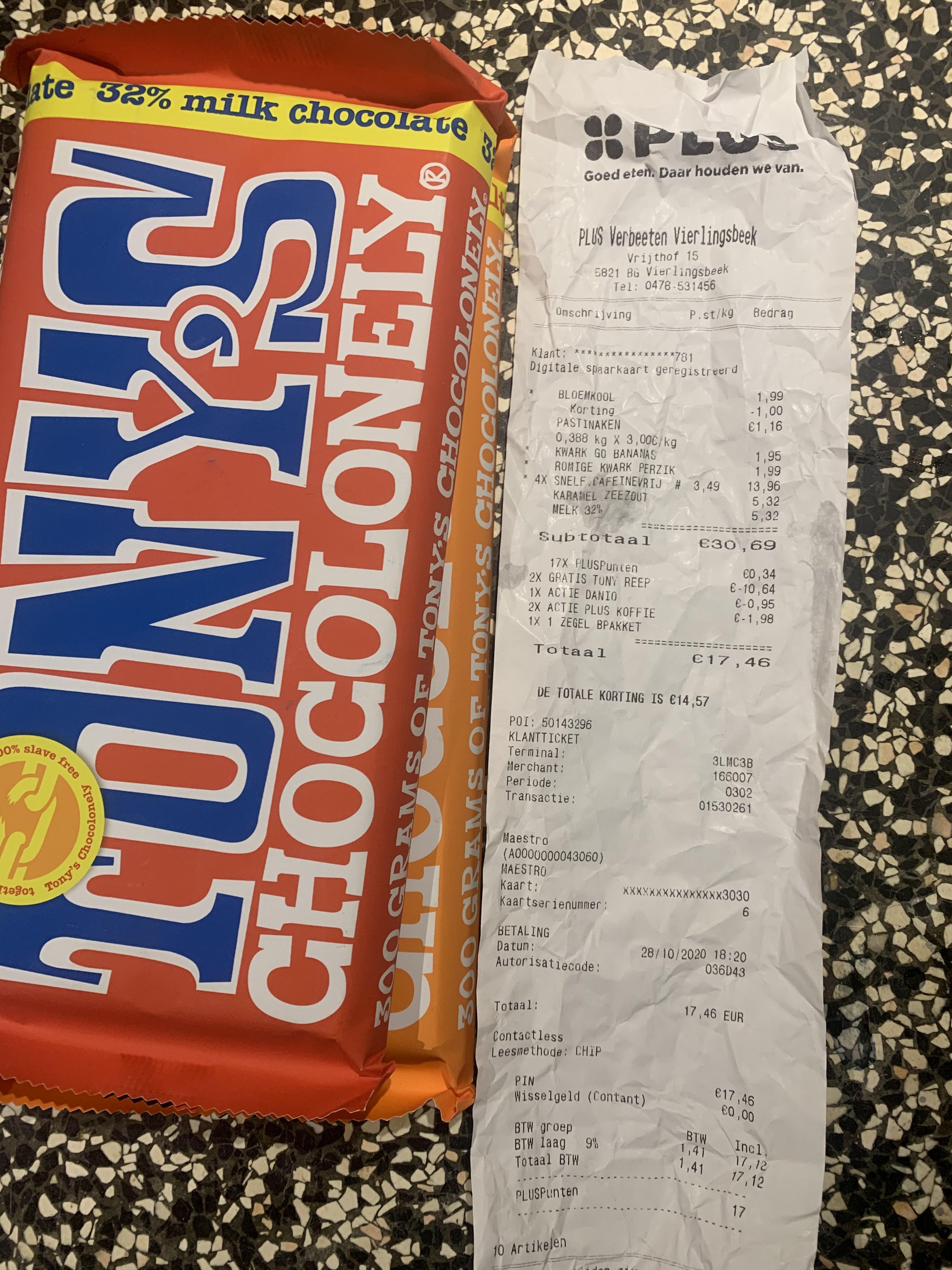 Gratis grote reep tony chocolonely bij 2 huismerk plus koffie pakken