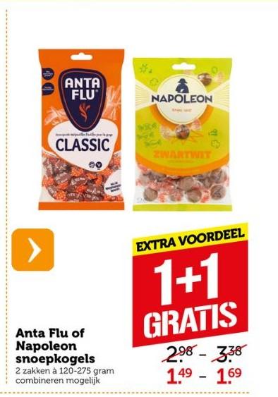 Alle varianten Napoleon kogels of Anta Flu, 1+1 gratis bij Coop Supermarkten