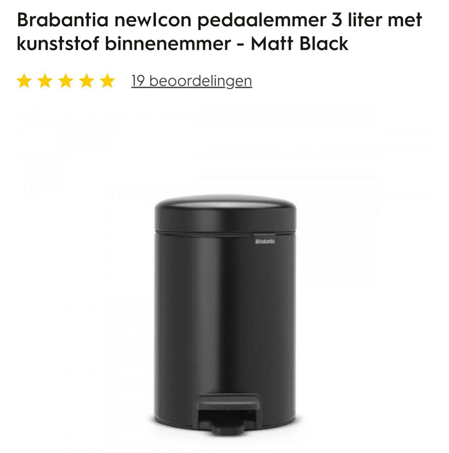 [25+10% korting] Brabantia Softclose Pedaalemmers NewIcon 3/5/12/30 liter (MattBlack/Platinum)
