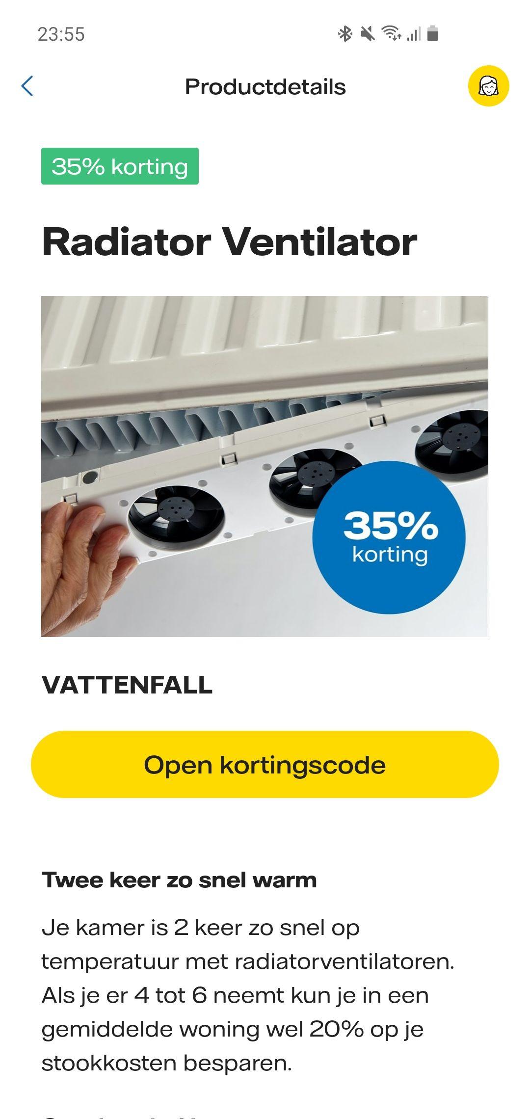 35% korting op de Radiator ventilator voor Vattenfall klanten