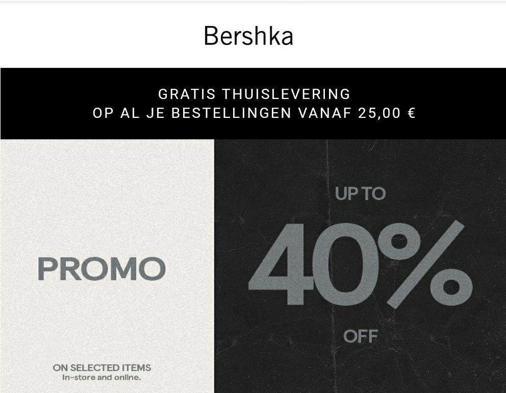 Bershka: 40% korting op geselecteerde items (dames en heren)