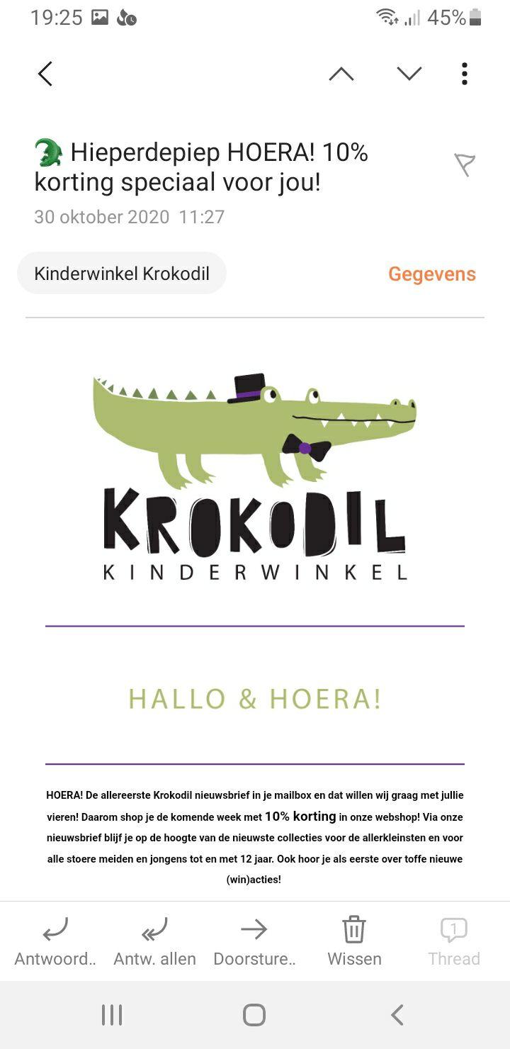 10% korting bij kinderwinkel Krokodil