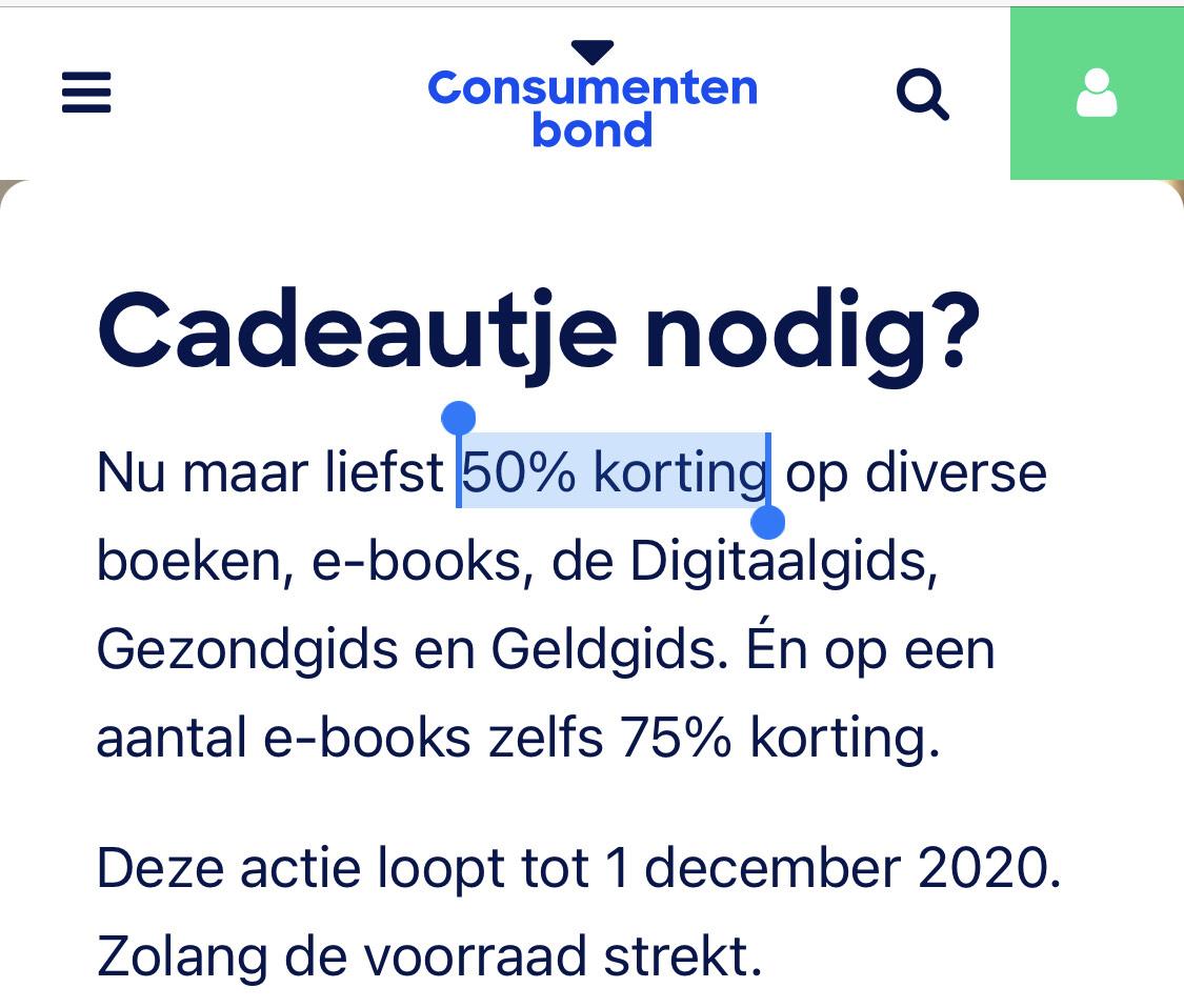 Consumentenbond: najaarsactie 50 of 75% korting op (e-)books en tijdschriften (gidsen)