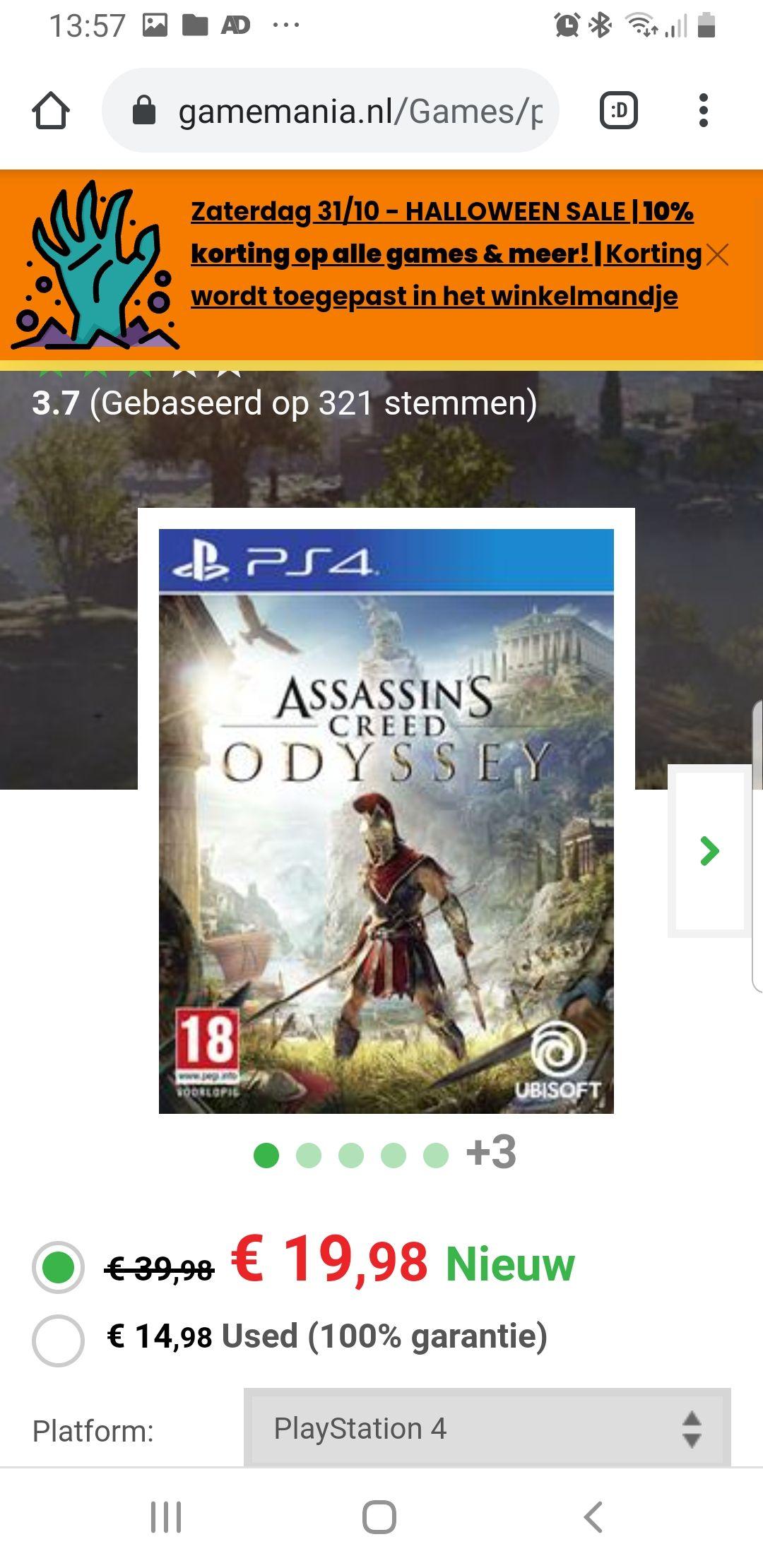 Assasin's Creed Odyssey PS4, ook nog 10% korting er boven op. Dus dan kom je op een bedag van rond de €17.00!!