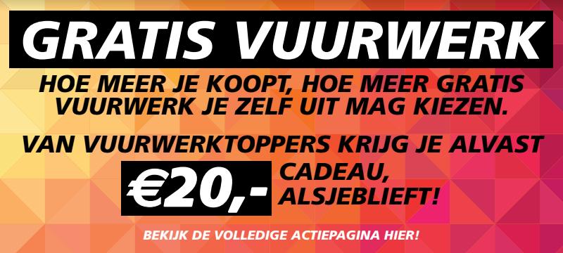 Vuurwerktoppers €20 korting bij minimale besteding van €40