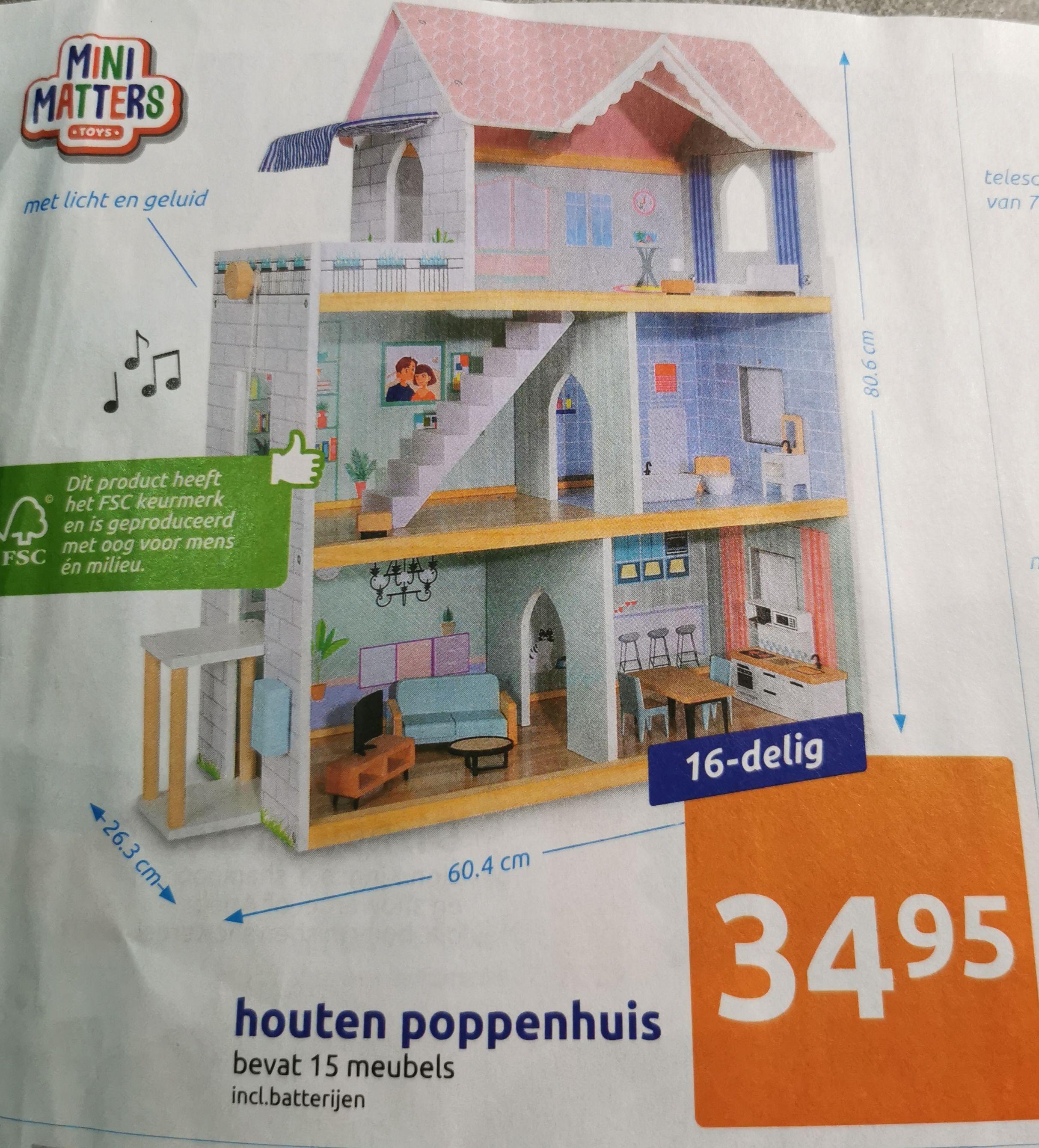 Houten poppenhuis (incl. 15 meubels, licht en geluid) bij Action