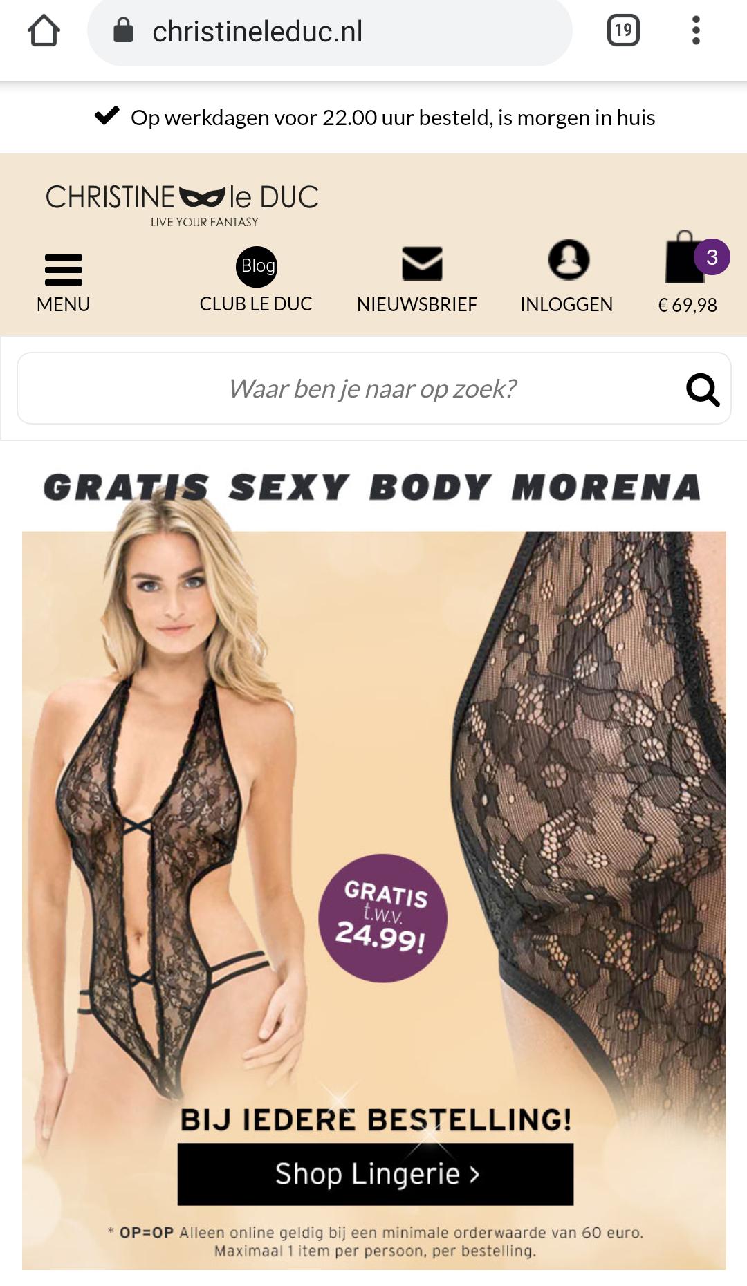 "Gratis ""Body Morena"" bij Cristine le Duc order vanaf € 60"