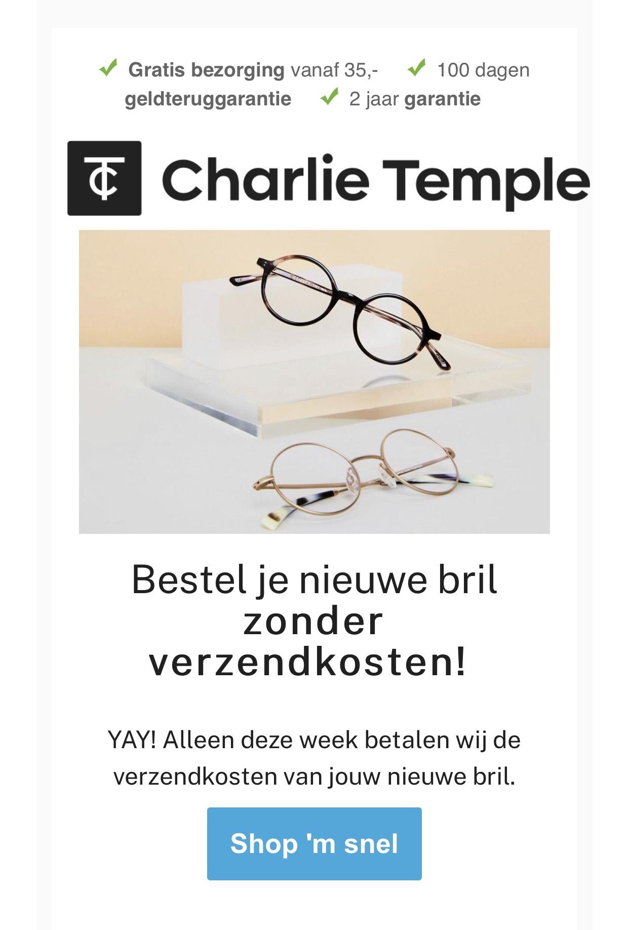 Deze week Geen verzendkosten bij Charlie temple