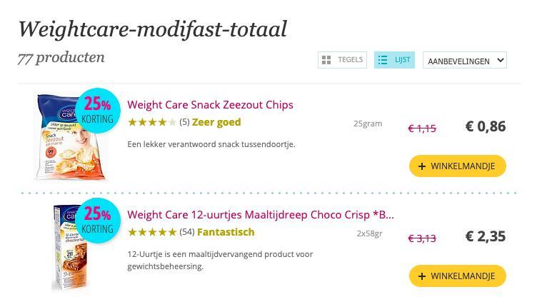 Weightcare & Modifast 25% korting