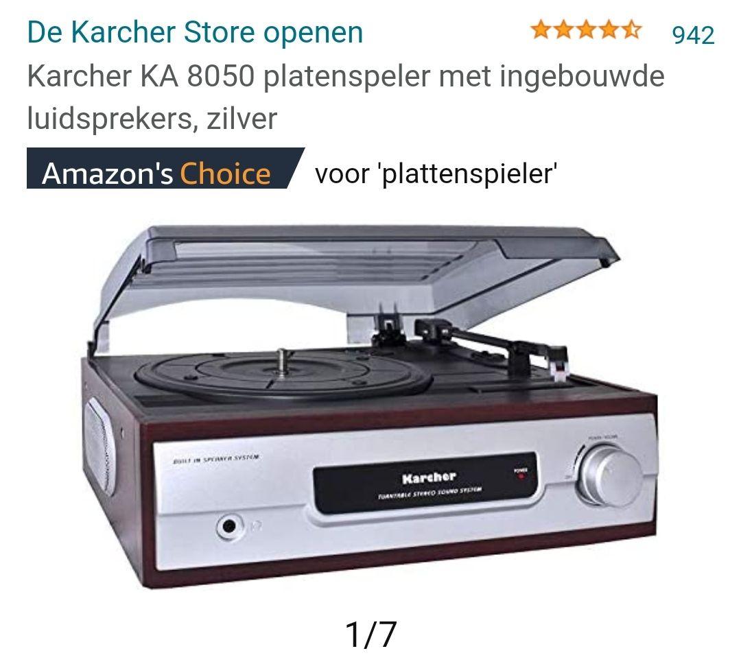 Karcher KA 8050 platenspeler met ingebouwde luidsprekers, zilver