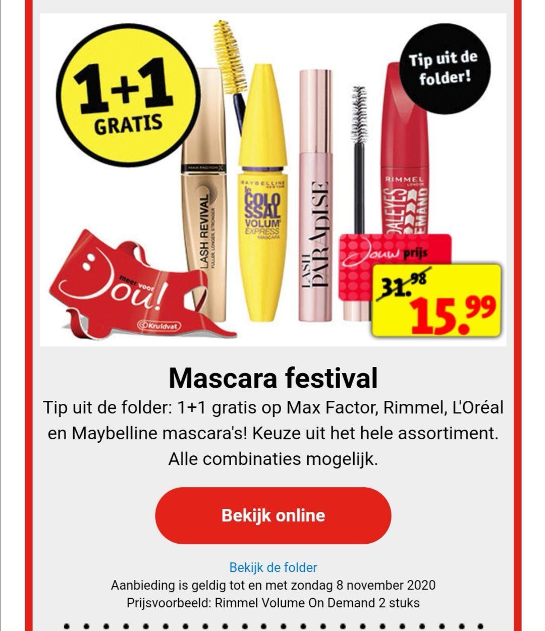 Mascara 1+1 gratis @Kruidvat