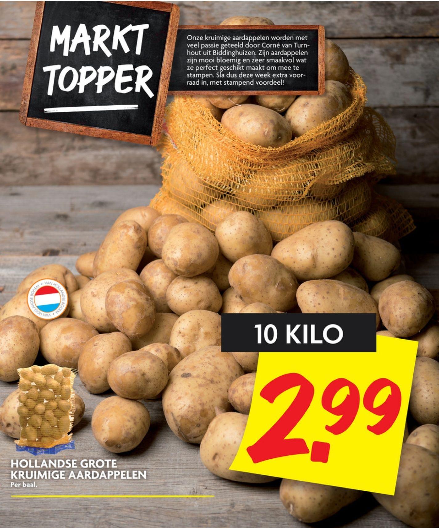 10 kilo aardappelen voor €2,99 bij DekaMarkt en €3,00 bij Deen!