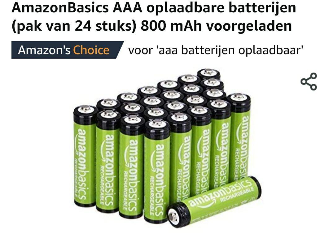 24 Oplaadbare AAA batterijen Amazon Basic